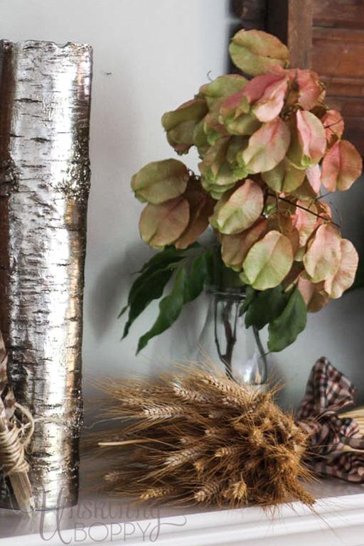 Golden Rain Tree pods on a fall mantel