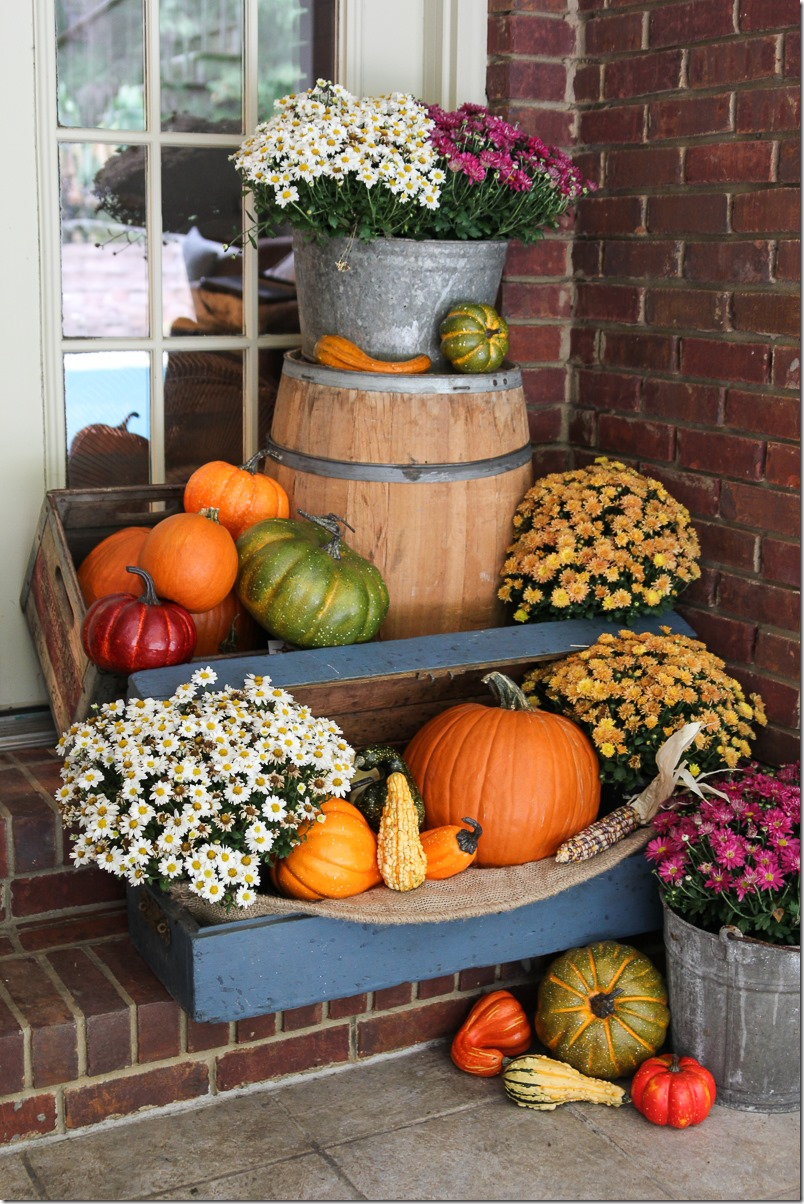 Fall porch decor with plants and pumpkins unskinny boppy - Pumpkin decorating ideas autumnal decor ...