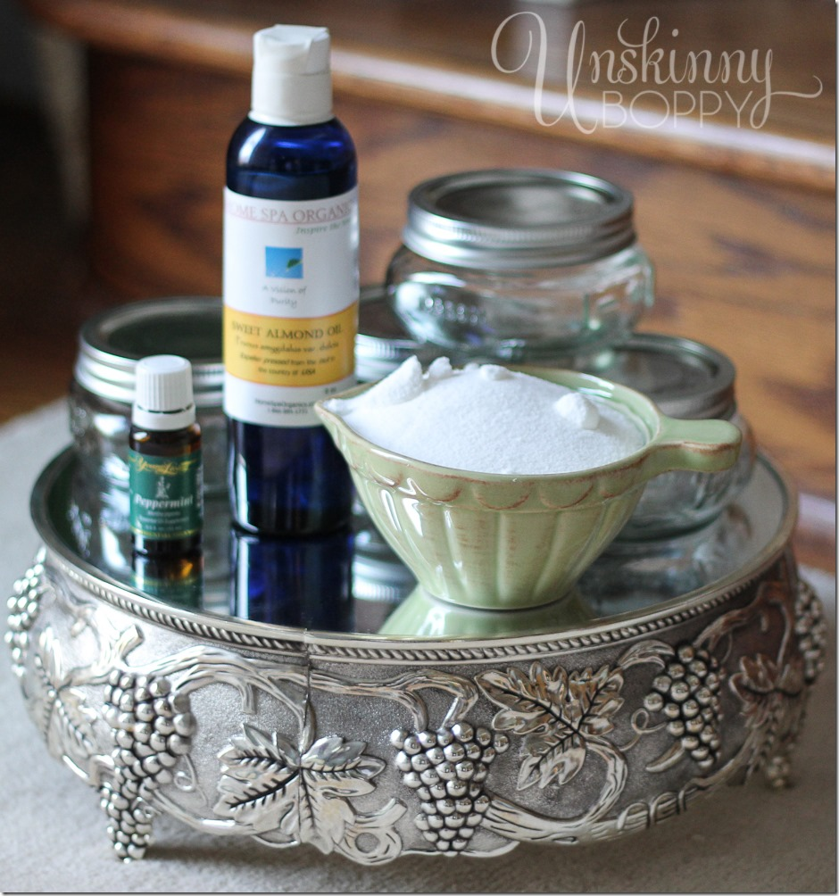 Ingredients for DIY gift- sugar scrub with Yount Living peppermint essential oil