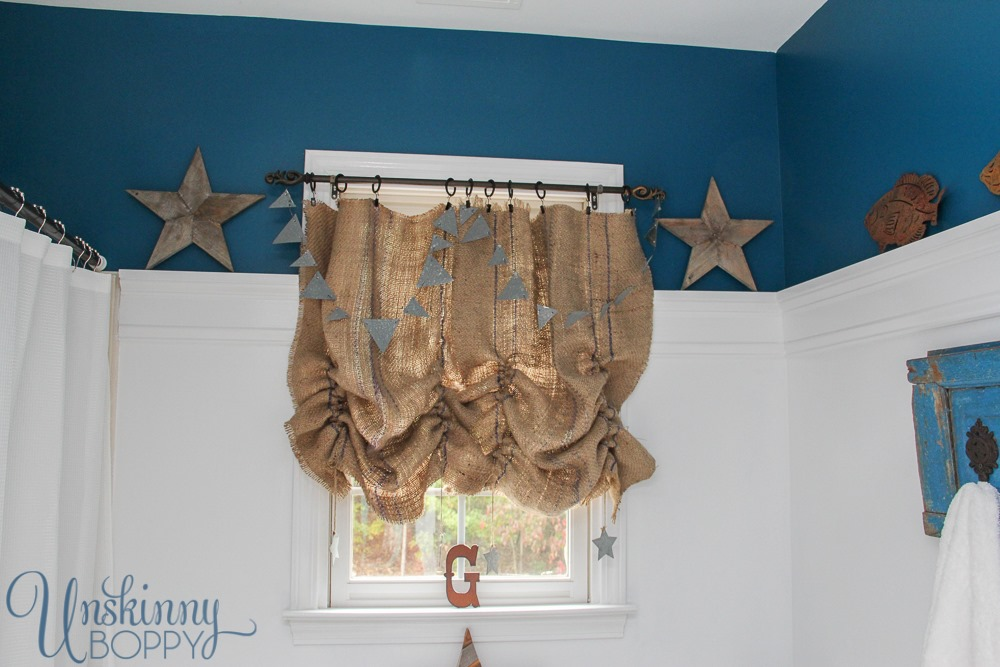 ruched burlap farmhouse curtains on a small window