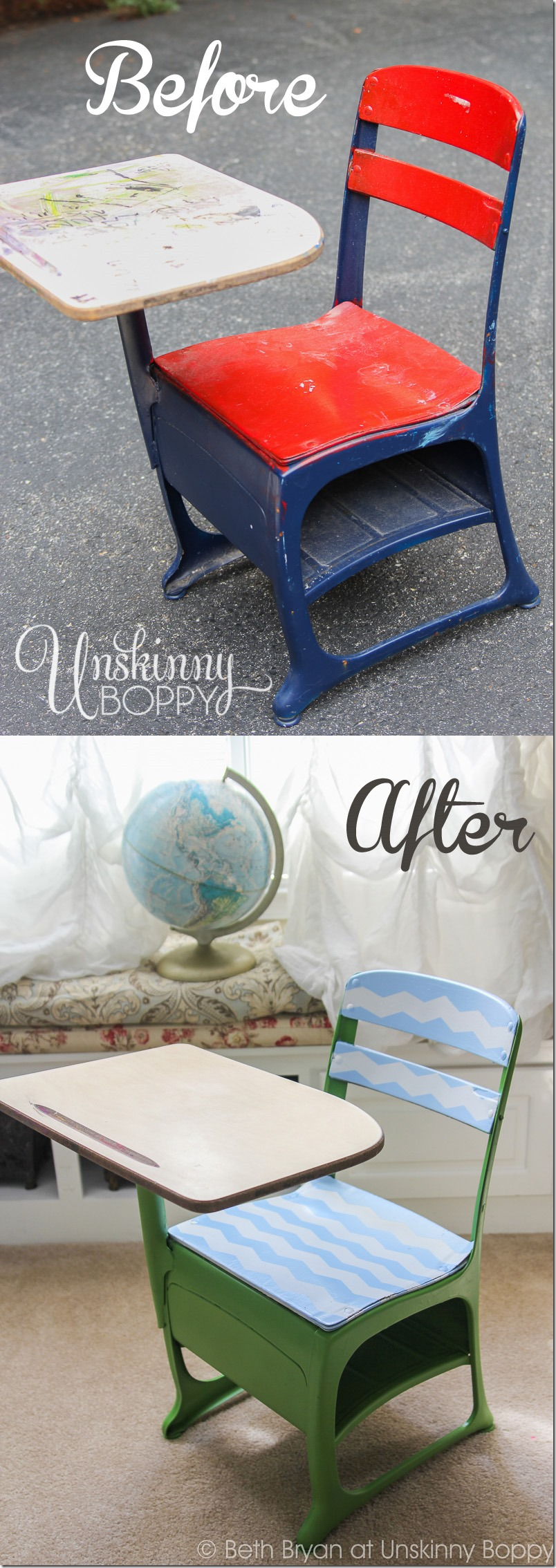 Vintage Student Desk DIY makeover with chevron frogtape