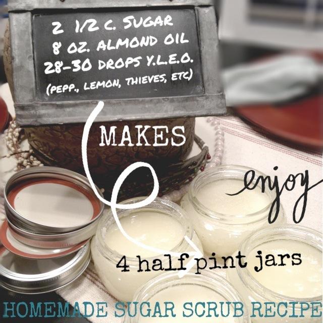 Homemade Sugar Scrub recipe with essential oils