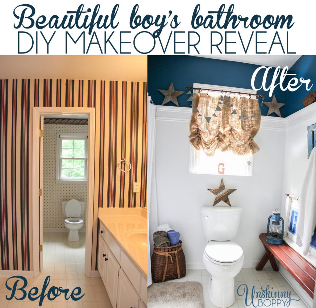 Beautiful Boys bathroom DIY Makeover reveal