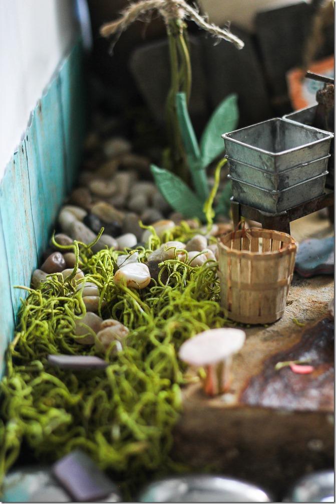 Garden details, moss, rocks, and plants in my DIY Fairy Garden