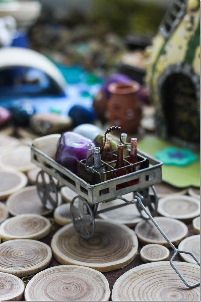 A drinking cart in my DIY Fairy Garden