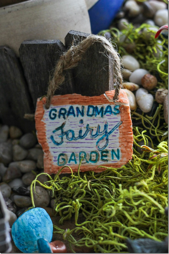 Grandma's Fairy Garden sign in my DIY Fairy Garden