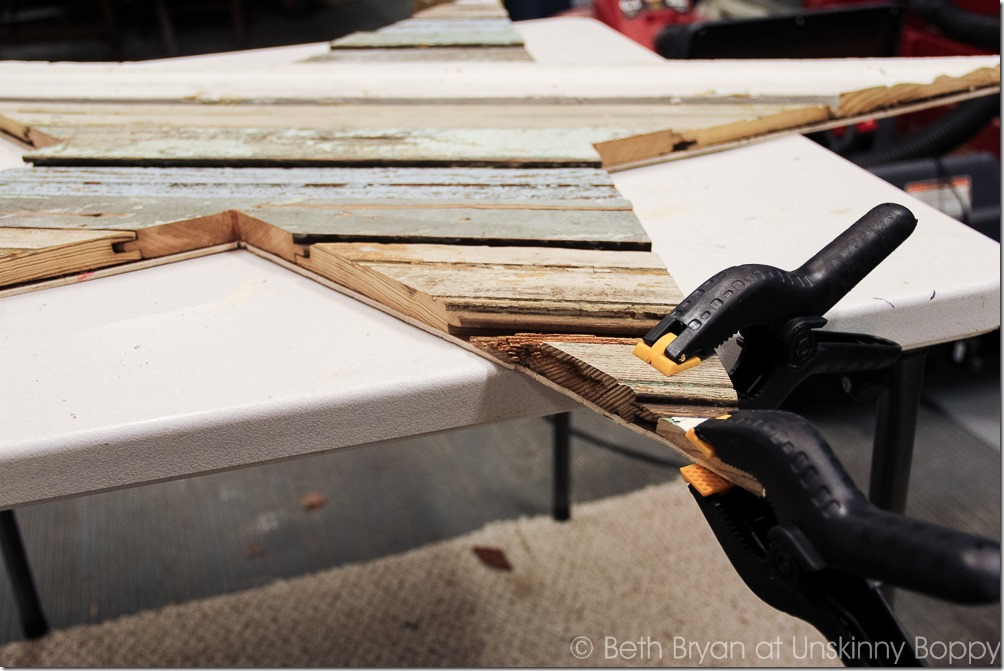If some of the wood pieces come loose during the edge trimming, just reglue them down with clamps to quick dry the glue.