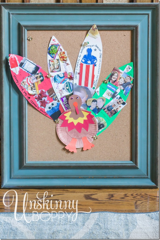 Thanksgiving Kids Idea- Make a turkey from thankful feathers