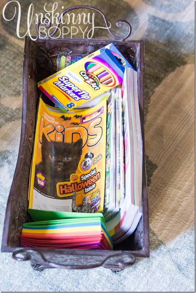 Thanksgiving Kids Table Idea- Bucket of supplies