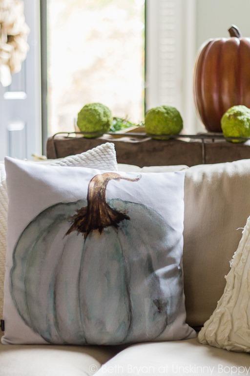 Pumpkin Pillow with Osage oranges