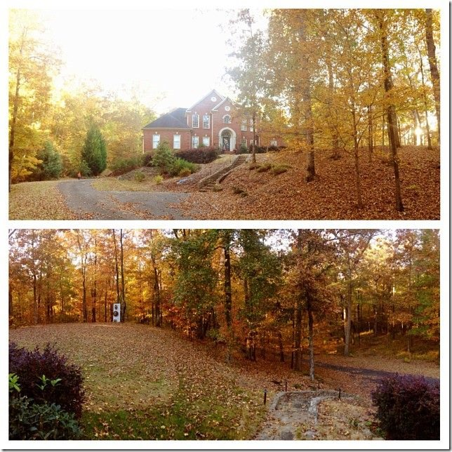 house in the fall leaves