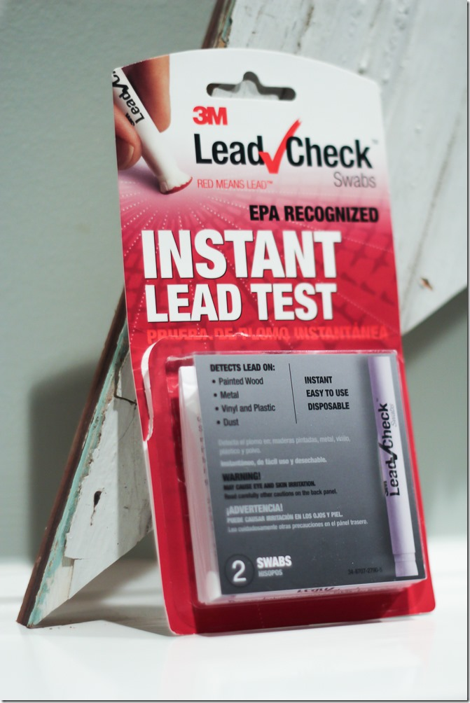 How to test chippy old wood for lead paint. Use this easy to use Instant Lead Testing kit to make sure there's no dangerous lead paint on your reclaimed wood decor.