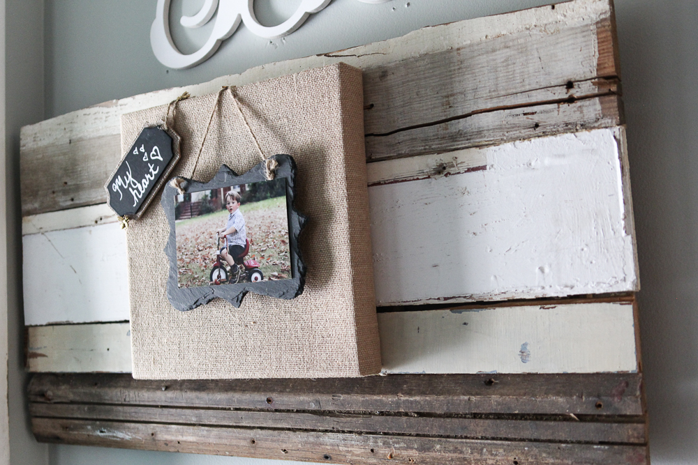 Burlap and slate picture frame on reclaimed wood (1 of 6)