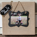 Burlap and slate picture frame on reclaimed wood (3 of 6)