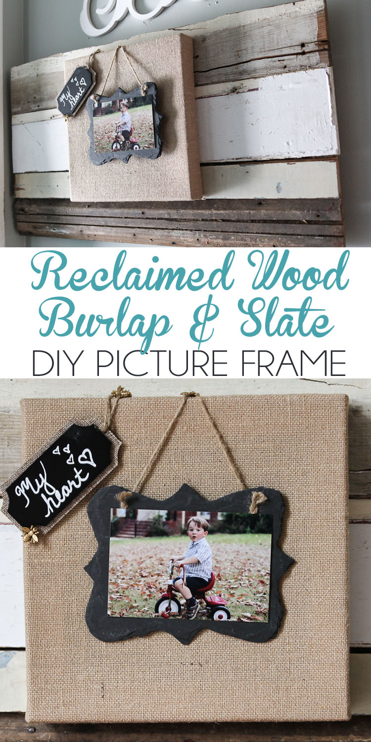 Burlap and slate picture frame on reclaimed wood
