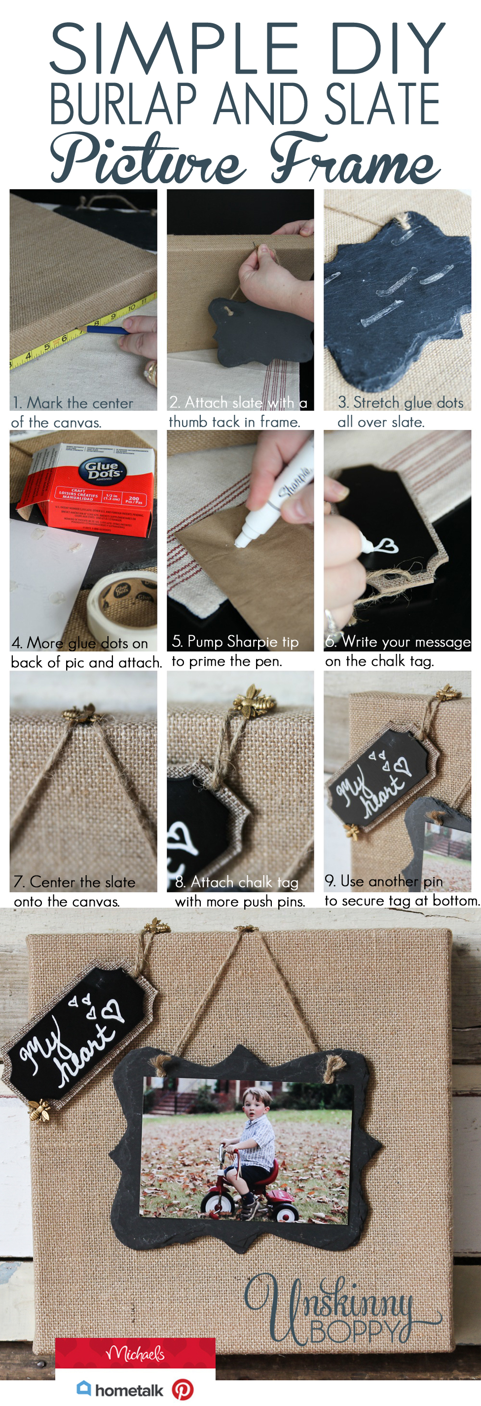Simple Burlap and Slate Picture Frame