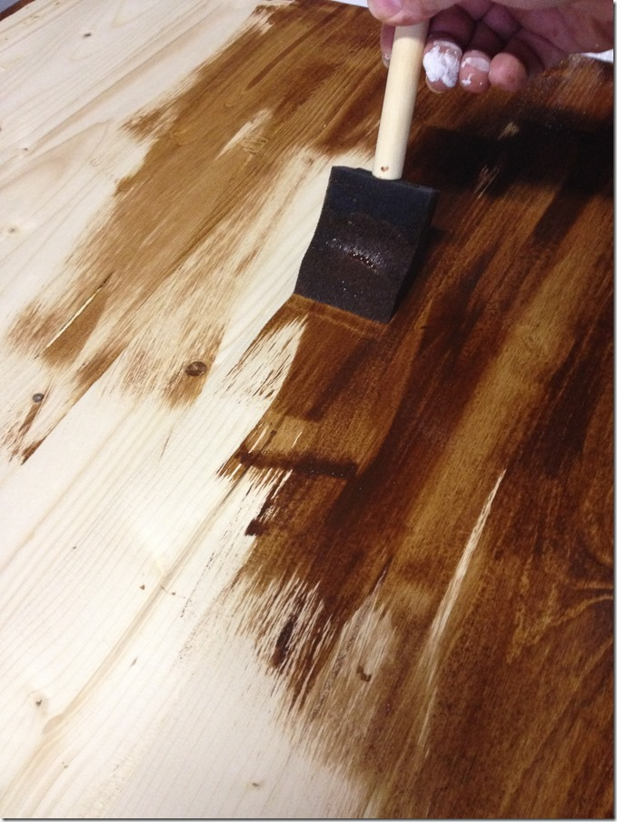 Timesaving Tips for Staining Wood Furniture (3 of 9) - make sure your brush strokes go with the grain and using a disposable brush makes clean up WAY easier.