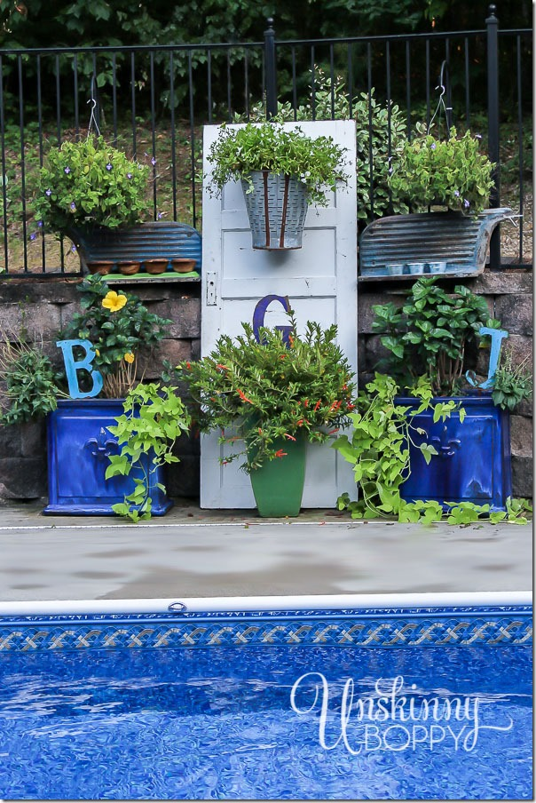 Pool patio decorating with old doors-10