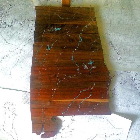 alabama wooden and turquiose artwork