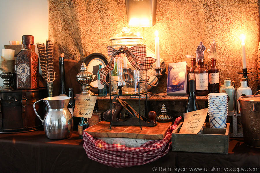 Outlander Party Ideas with rustic decorations and candles