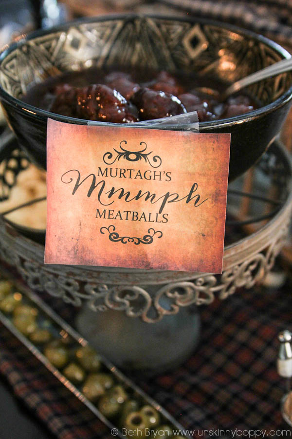 Outlander Party Ideas- Murtagh meatballs Mmmmmph