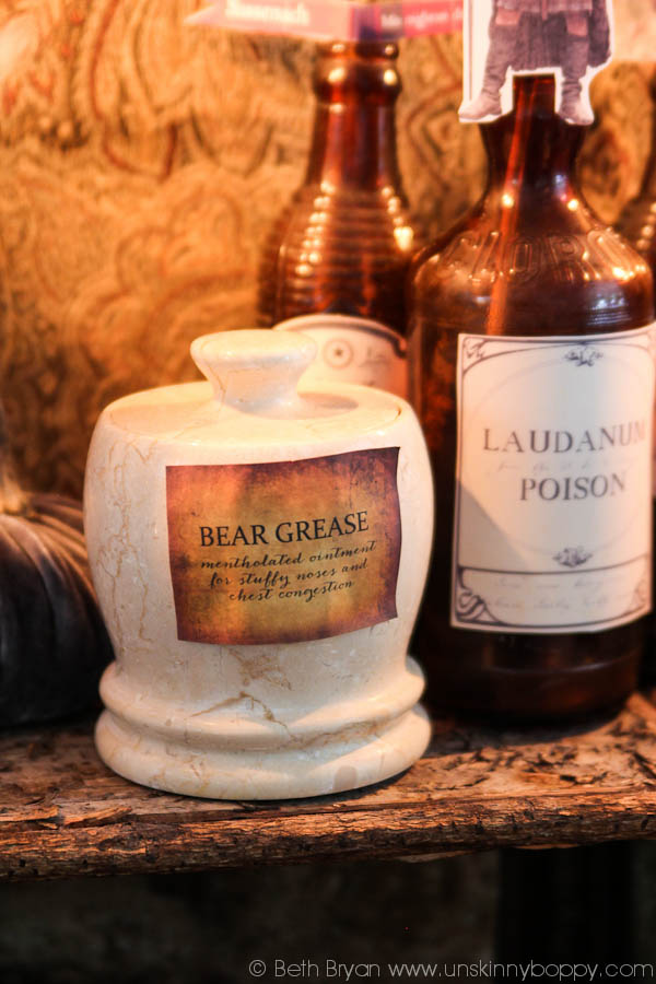 Outlander Party Ideas-bear grease and laudanum