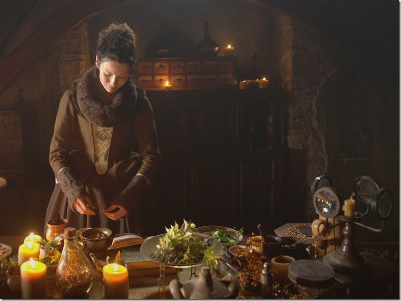 Claire Fraser mixing herbs in her apothecary