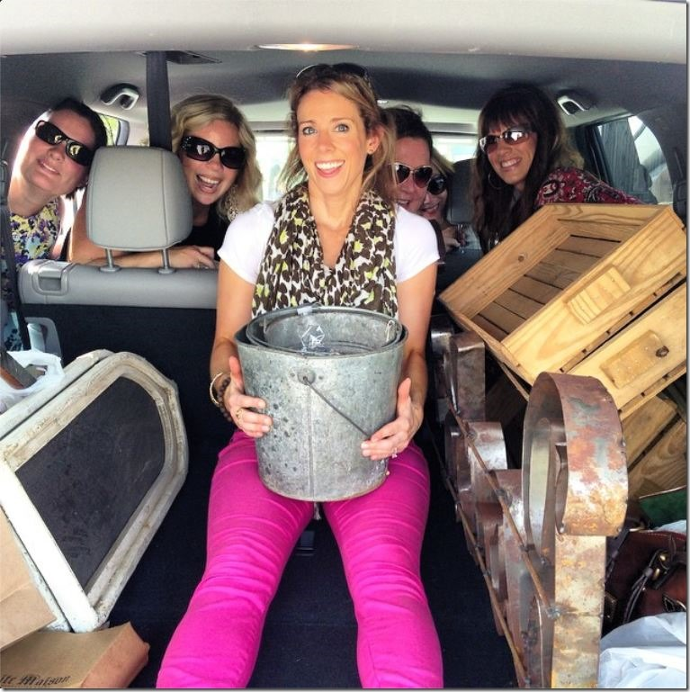Packed into our van with all the girls and all of our Flea market finds!