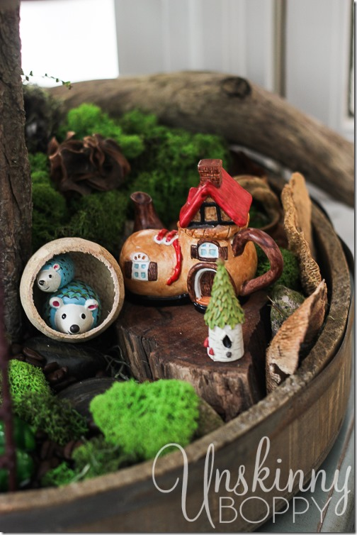 Woodland Fairy Garden from a Three Tiered Stand-10