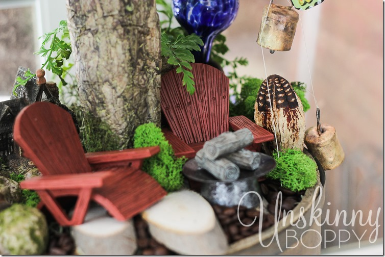 Woodland Fairy Garden from a Three Tiered Stand-12