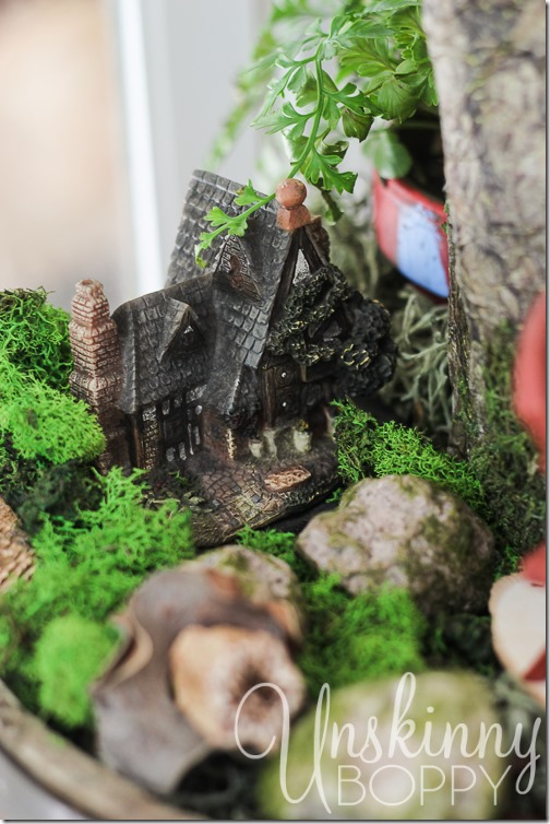 Woodland Fairy Garden from a Three Tiered Stand-13