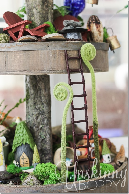 Woodland Fairy Garden from a Three Tiered Stand-8