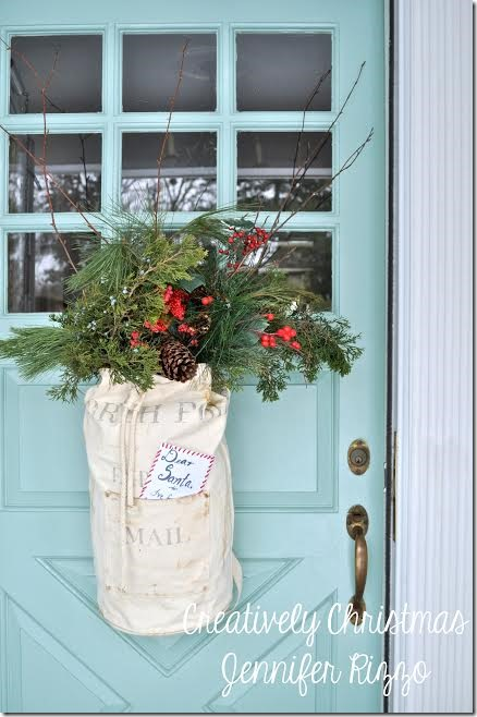 Evergreens in a sack- simple Christmas decor by Jen Rizzo