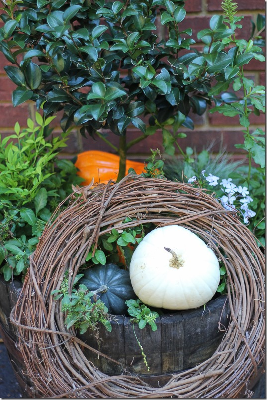 Whisky barrel filled with pumpkins and plants.  Perfect fall porch decor!