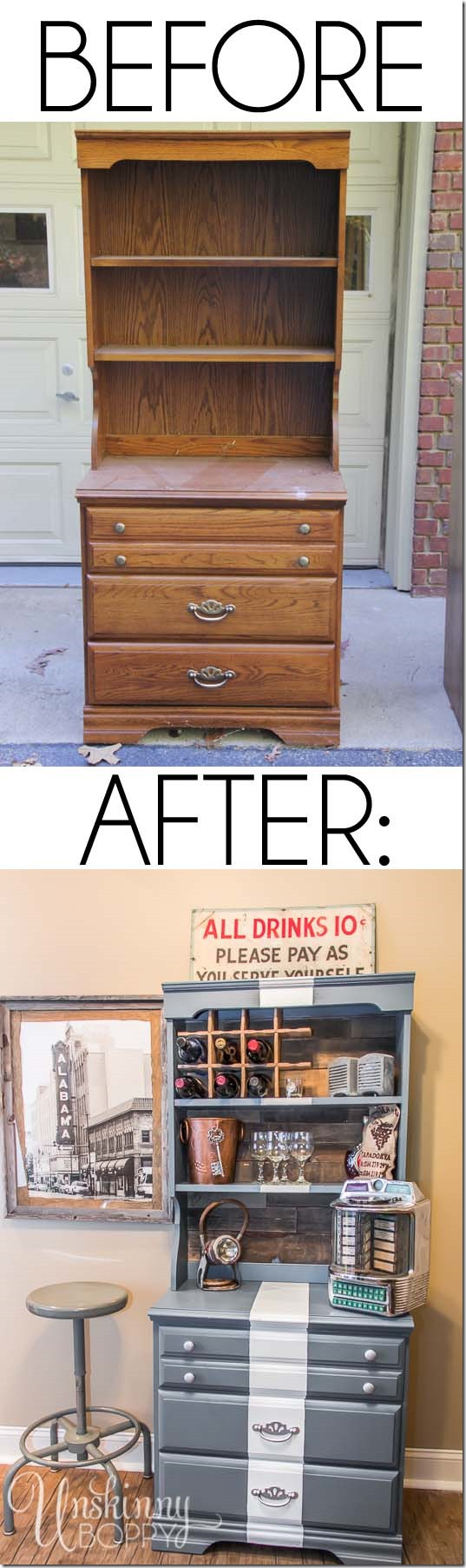 Before and after painted furniture