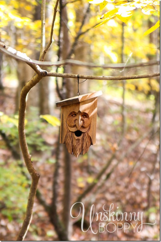 Blankenship Farms carved face in the woods
