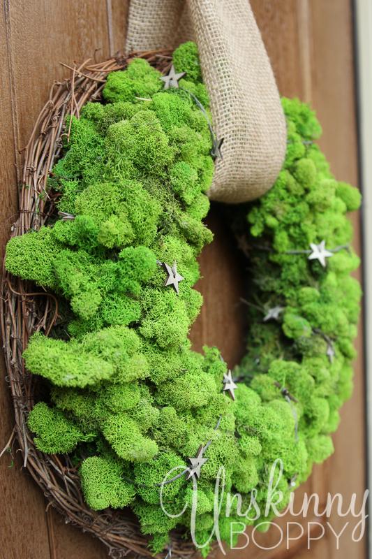 DIY Reindeer Moss Wreath layered over grapevine wreath