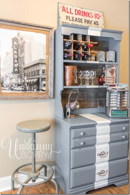 DIY Serving bar with painted stripe