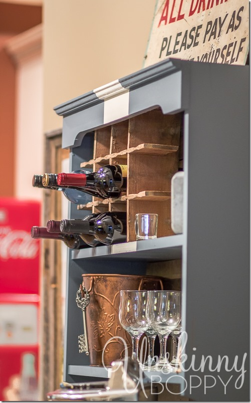 DIY Serving bar with wine storage in Coke Crate
