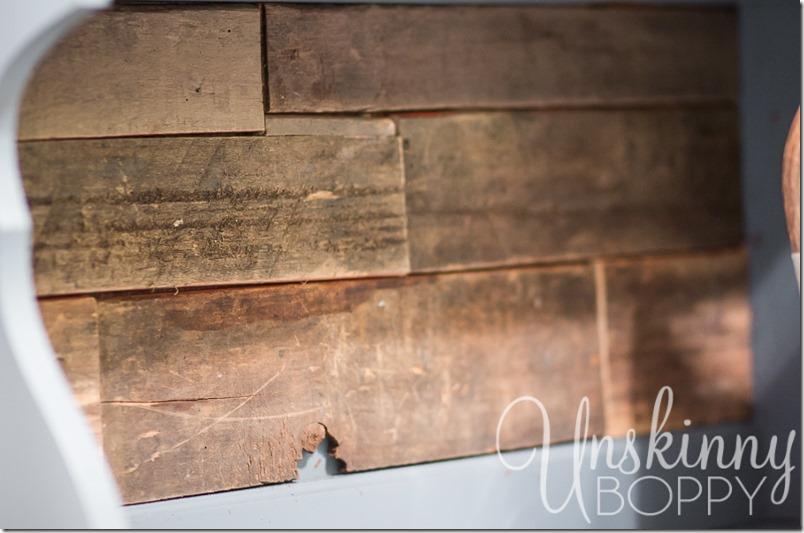 Reclaimed Wood on back of bookshelf