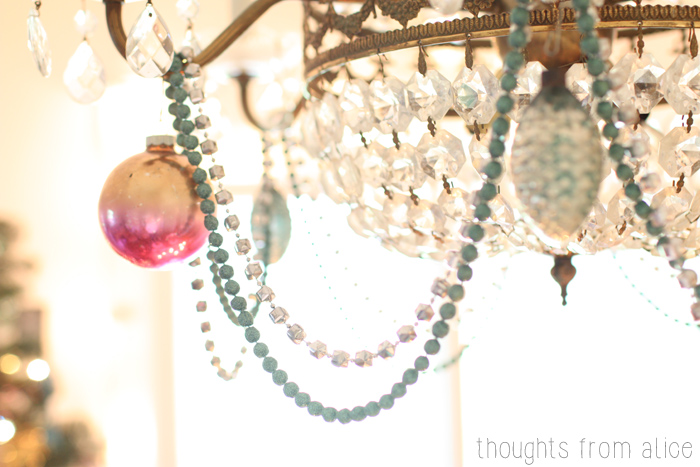 Antique-Chandelier-with-Christmas-Ornaments