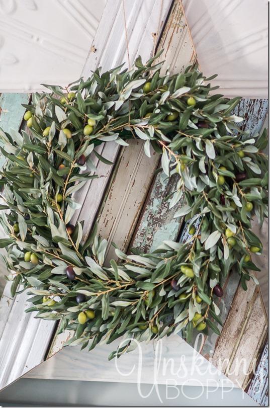 Birch Lane Olive Wreath on reclaimed wood-1