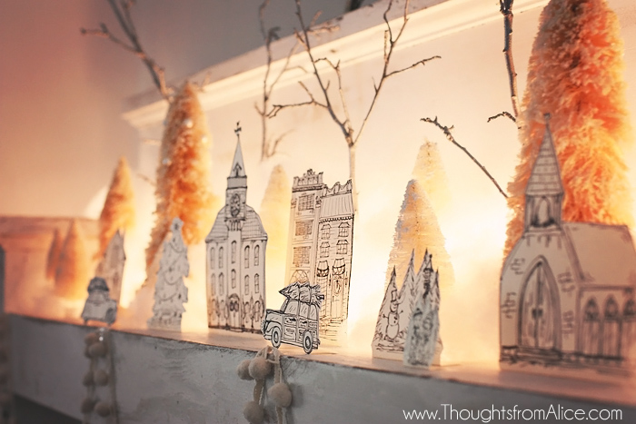 DIY-Free-Printable-Christmas-Village-with-Lights