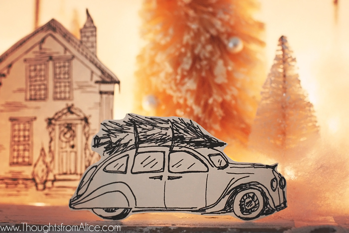 Hand-Drawn-Vintage-Car-in-Christmas-Village-Free-Printable