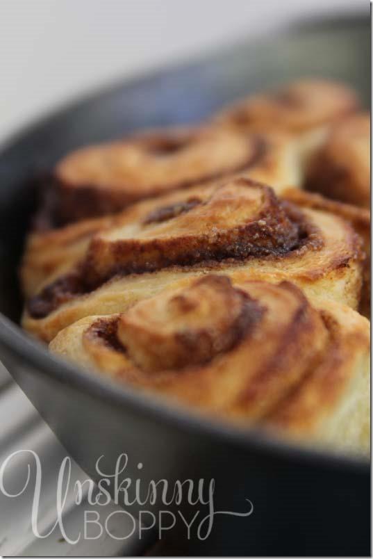 Homemade Cinnamon Rolls in Cast Iron Skillet.