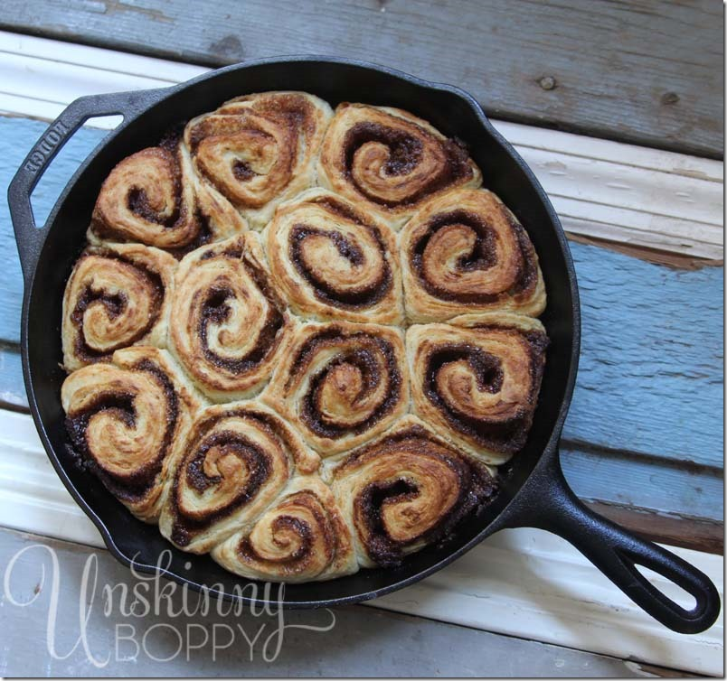 These Homemade Cinnamon Rolls in Cast Iron skillet are the perfect weekend morning family breakfast!