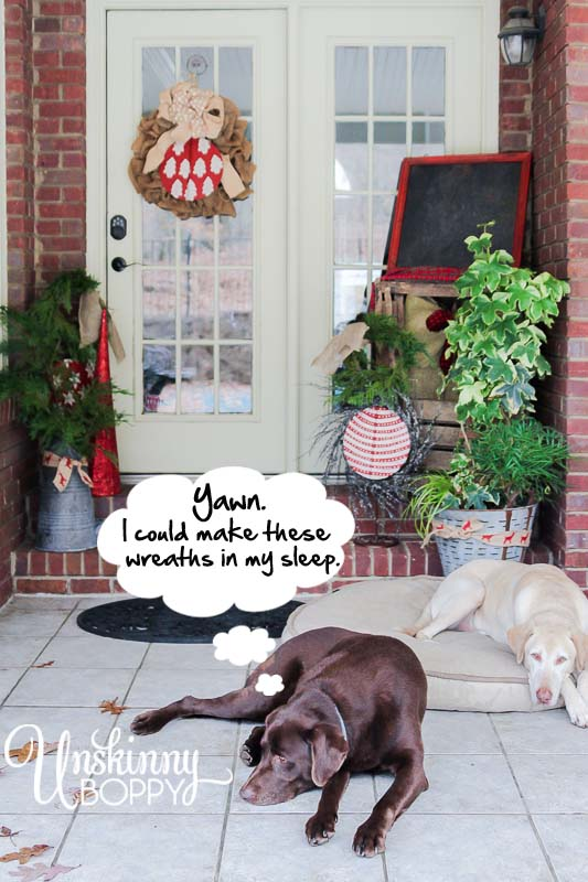 Simple DIY Evergreen wreaths for the Christmas porch