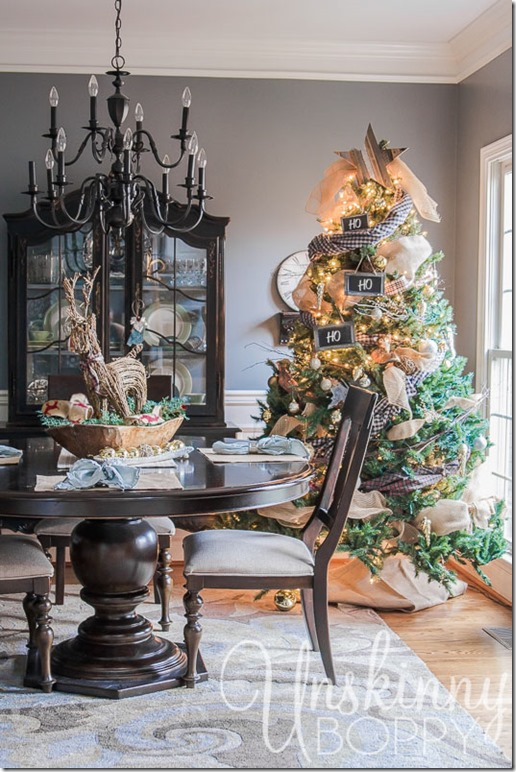 Christmas tree in the dining room with plaid