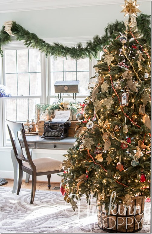 Pretty Christmas Tree in a basket- hides the base without a tree skirt.