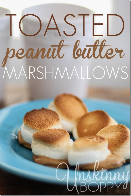 Toasted peanut butter marshmallows on Ritz